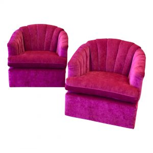 Purchase Vintage Hot Pink Channel Backed Swivel Chairs