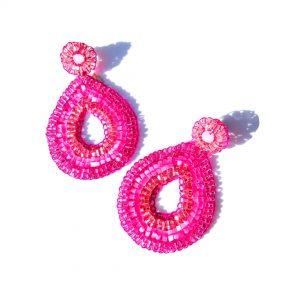 Purchase Oval Shape Earrings in Fuchsia