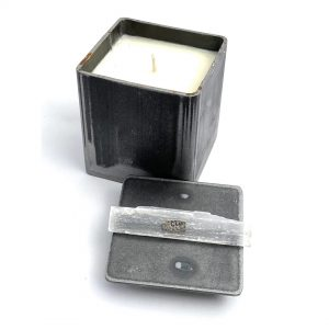 Buy Custom Steel Box Candle with Selenite Crystal Lid