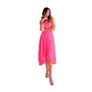 Floral Chiffon Halter Dress Pink
