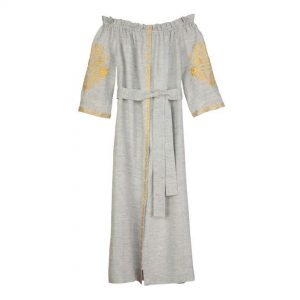 Purchase The Alexis Grey and Gold Dress at Bitsy Stoneking