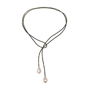 Purchase Small Pyrite & Pearl Lariat